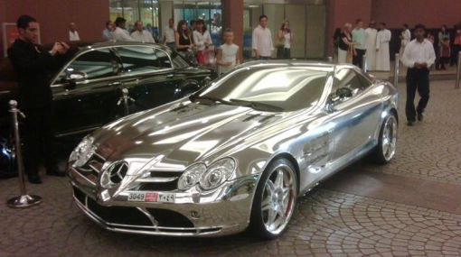 a Mercedes-Benz SLR McLaren covered in chrome.
