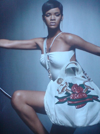 Rihanna recently did a photoshoot for the Gucci Tattoo Heart Collection.